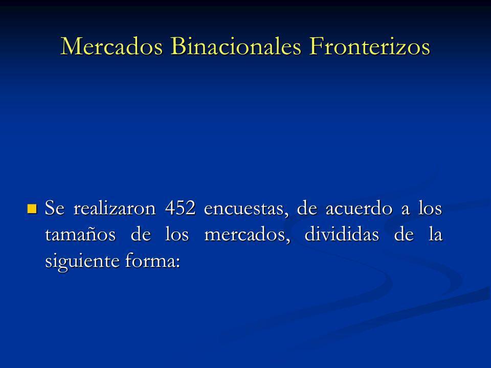 Mercados Binacionales Fronterizos Se realizaron 452 encuestas, de acuerdo a los tamaños de los mercados, divididas de la siguiente forma: Se realizaron 452 encuestas, de acuerdo a los tamaños de los mercados, divididas de la siguiente forma: