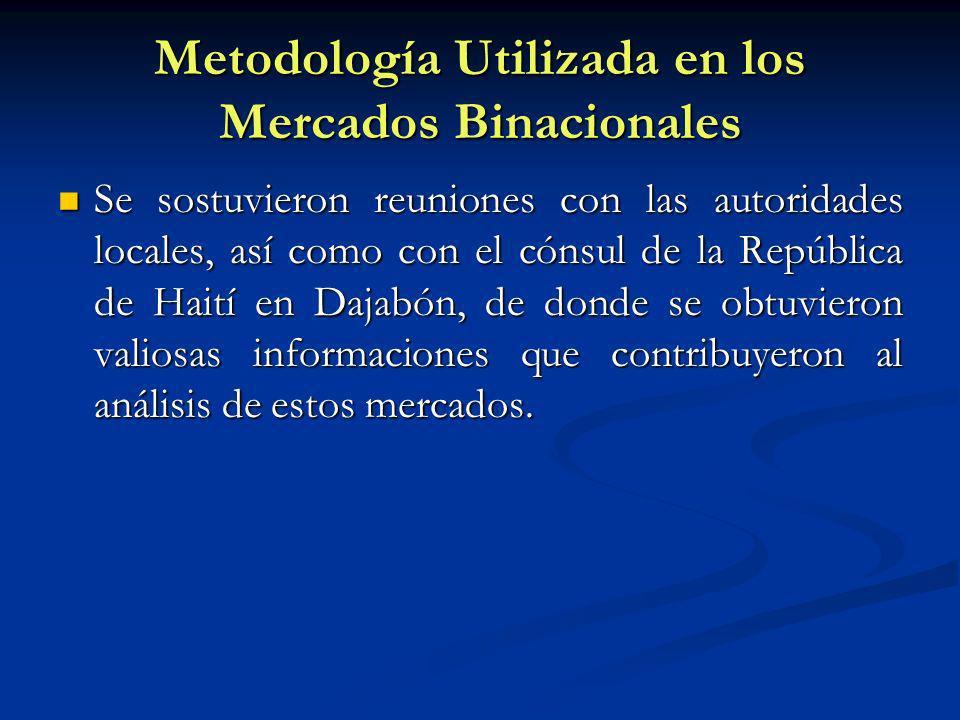 Metodología Utilizada en los Mercados Binacionales Se sostuvieron reuniones con las autoridades locales, así como con el cónsul de la República de Hai