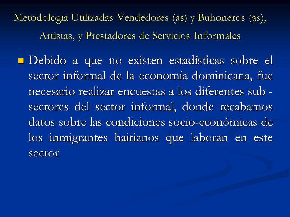 Metodología Utilizadas Vendedores (as) y Buhoneros (as), Artistas, y Prestadores de Servicios Informales Debido a que no existen estadísticas sobre el