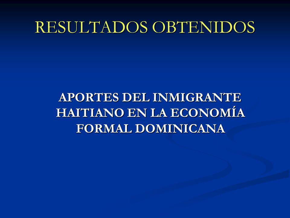 RESULTADOS OBTENIDOS APORTES DEL INMIGRANTE HAITIANO EN LA ECONOMÍA FORMAL DOMINICANA APORTES DEL INMIGRANTE HAITIANO EN LA ECONOMÍA FORMAL DOMINICANA