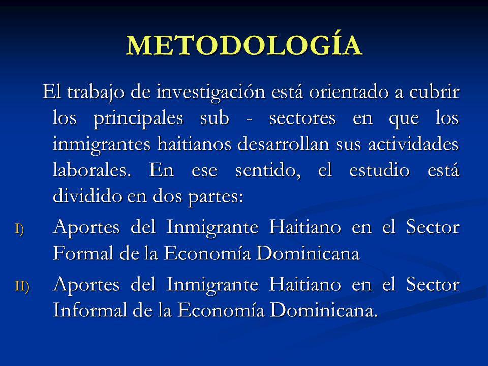 METODOLOGÍA El trabajo de investigación está orientado a cubrir los principales sub - sectores en que los inmigrantes haitianos desarrollan sus actividades laborales.