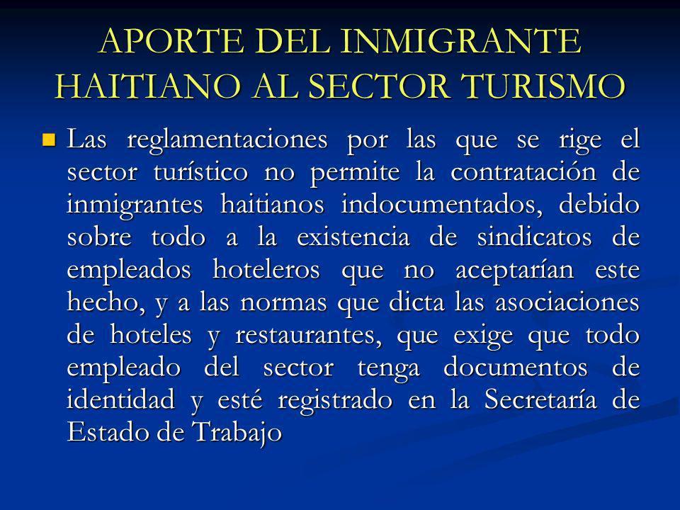 APORTE DEL INMIGRANTE HAITIANO AL SECTOR TURISMO Las reglamentaciones por las que se rige el sector turístico no permite la contratación de inmigrante