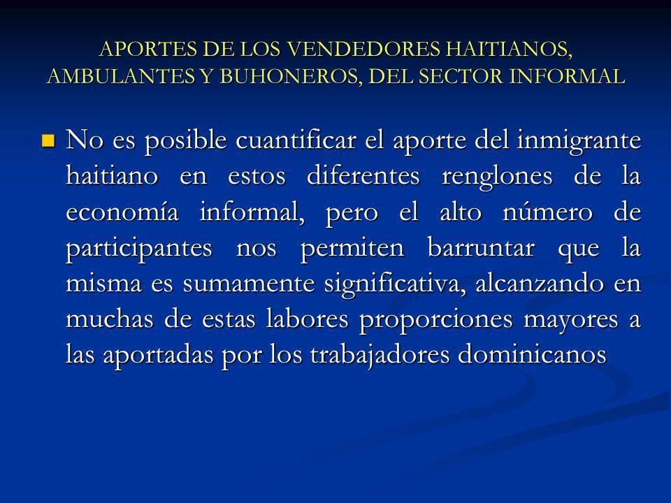 APORTES DE LOS VENDEDORES HAITIANOS, AMBULANTES Y BUHONEROS, DEL SECTOR INFORMAL No es posible cuantificar el aporte del inmigrante haitiano en estos diferentes renglones de la economía informal, pero el alto número de participantes nos permiten barruntar que la misma es sumamente significativa, alcanzando en muchas de estas labores proporciones mayores a las aportadas por los trabajadores dominicanos No es posible cuantificar el aporte del inmigrante haitiano en estos diferentes renglones de la economía informal, pero el alto número de participantes nos permiten barruntar que la misma es sumamente significativa, alcanzando en muchas de estas labores proporciones mayores a las aportadas por los trabajadores dominicanos