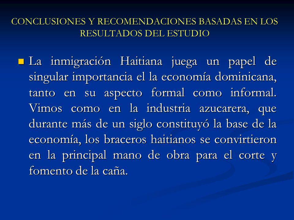 CONCLUSIONES Y RECOMENDACIONES BASADAS EN LOS RESULTADOS DEL ESTUDIO La inmigración Haitiana juega un papel de singular importancia el la economía dominicana, tanto en su aspecto formal como informal.