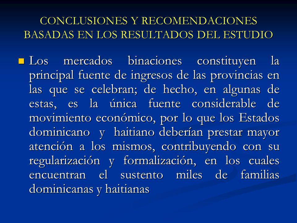 CONCLUSIONES Y RECOMENDACIONES BASADAS EN LOS RESULTADOS DEL ESTUDIO Los mercados binaciones constituyen la principal fuente de ingresos de las provin