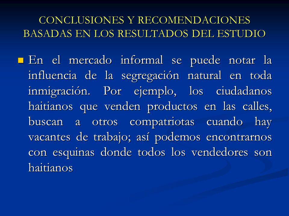 CONCLUSIONES Y RECOMENDACIONES BASADAS EN LOS RESULTADOS DEL ESTUDIO En el mercado informal se puede notar la influencia de la segregación natural en toda inmigración.