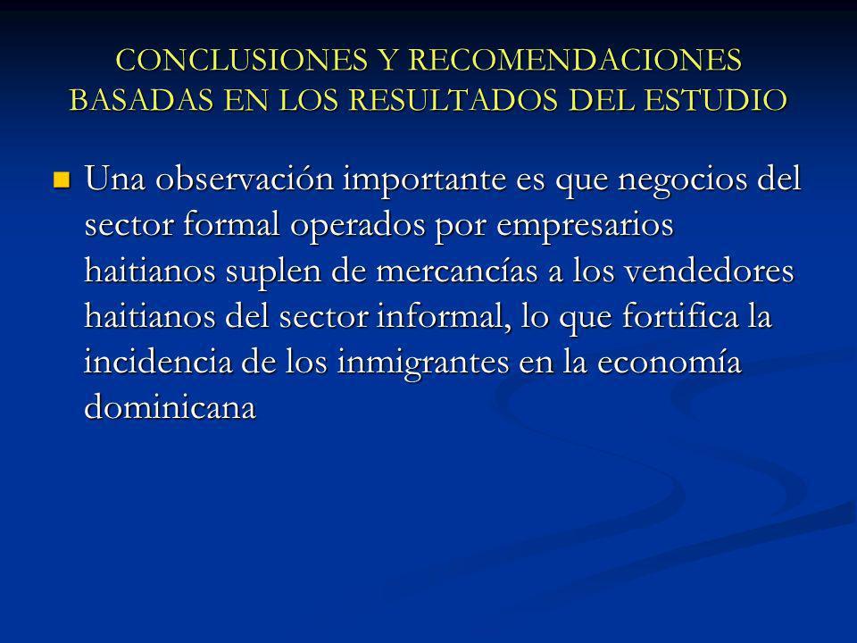 CONCLUSIONES Y RECOMENDACIONES BASADAS EN LOS RESULTADOS DEL ESTUDIO Una observación importante es que negocios del sector formal operados por empresa