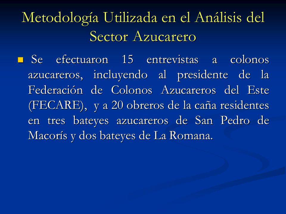 Metodología Utilizada en el Análisis del Sector Azucarero Se efectuaron 15 entrevistas a colonos azucareros, incluyendo al presidente de la Federación