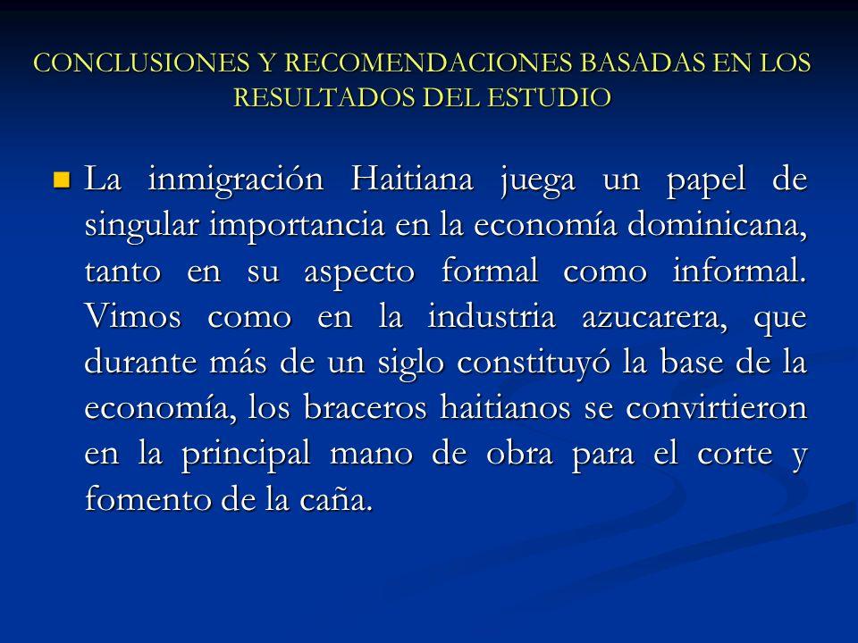 La inmigración Haitiana juega un papel de singular importancia en la economía dominicana, tanto en su aspecto formal como informal. Vimos como en la i