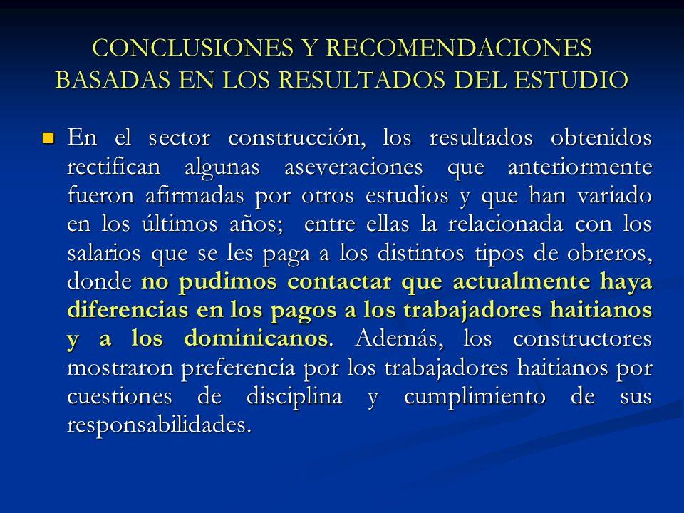 CONCLUSIONES Y RECOMENDACIONES BASADAS EN LOS RESULTADOS DEL ESTUDIO En el sector construcción, los resultados obtenidos rectifican algunas aseveracio