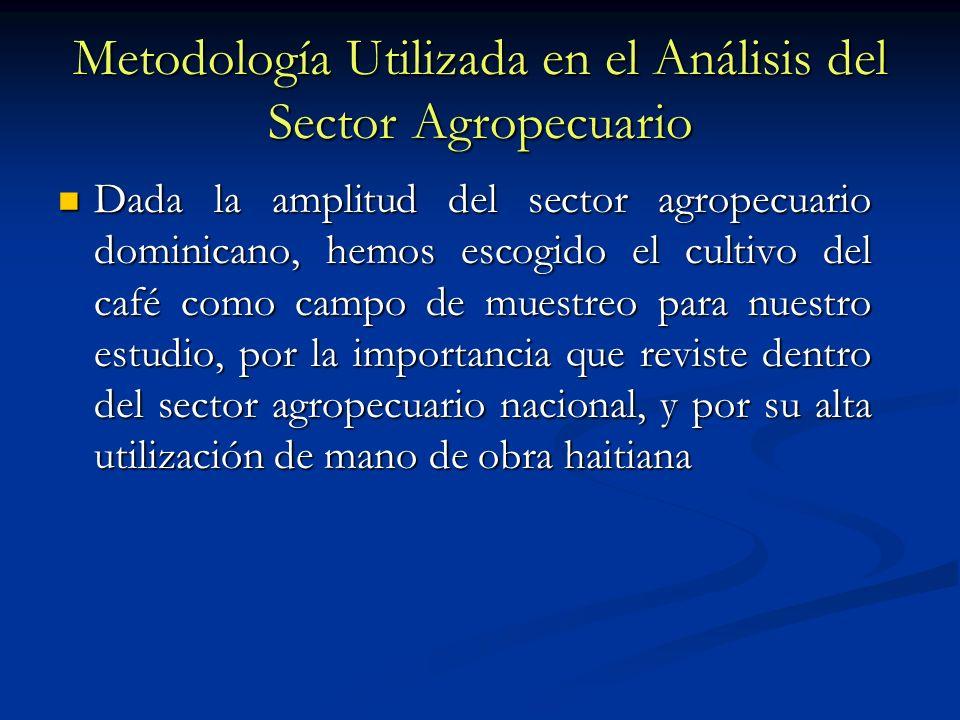 Metodología Utilizada en el Análisis del Sector Agropecuario Dada la amplitud del sector agropecuario dominicano, hemos escogido el cultivo del café c