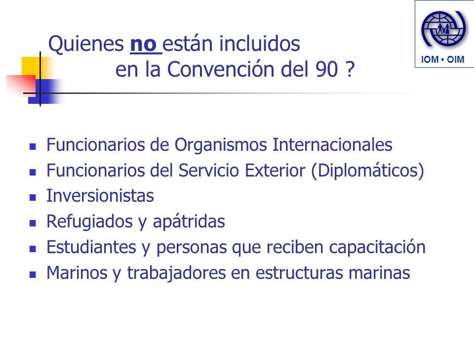 Quienes no están incluidos en la Convención del 90 ? Funcionarios de Organismos Internacionales Funcionarios del Servicio Exterior (Diplomáticos) Inve