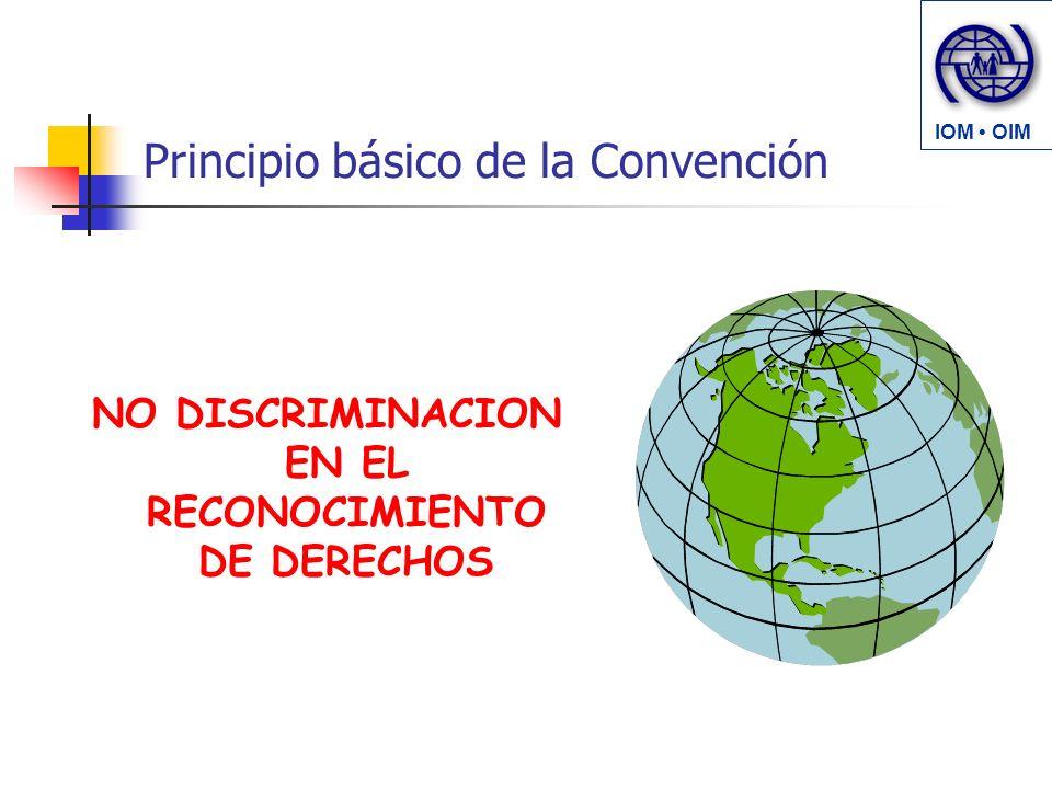 Principio básico de la Convención NO DISCRIMINACION EN EL RECONOCIMIENTO DE DERECHOS IOM OIM
