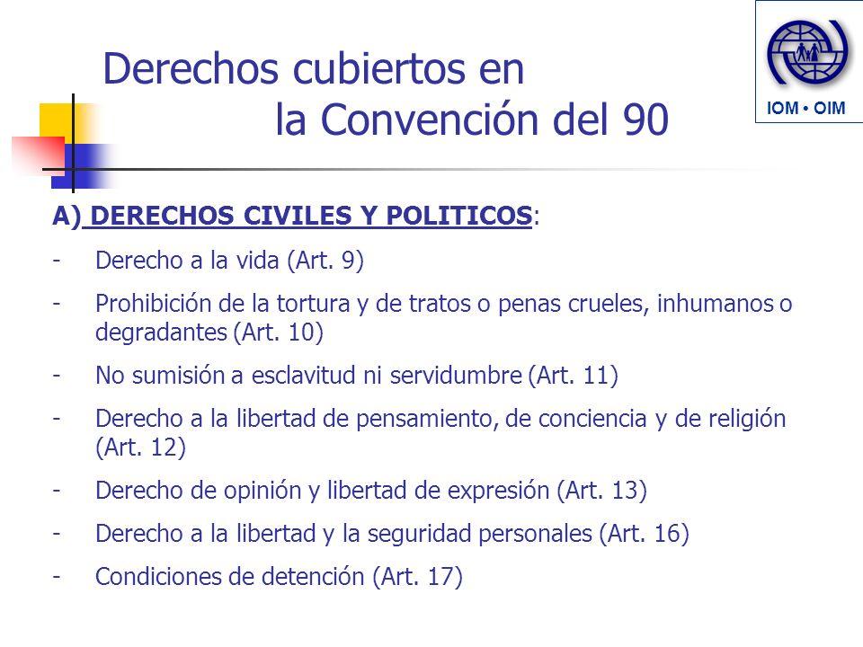 Derechos cubiertos en la Convención del 90 A) DERECHOS CIVILES Y POLITICOS: -Derecho a la vida (Art. 9) -Prohibición de la tortura y de tratos o penas