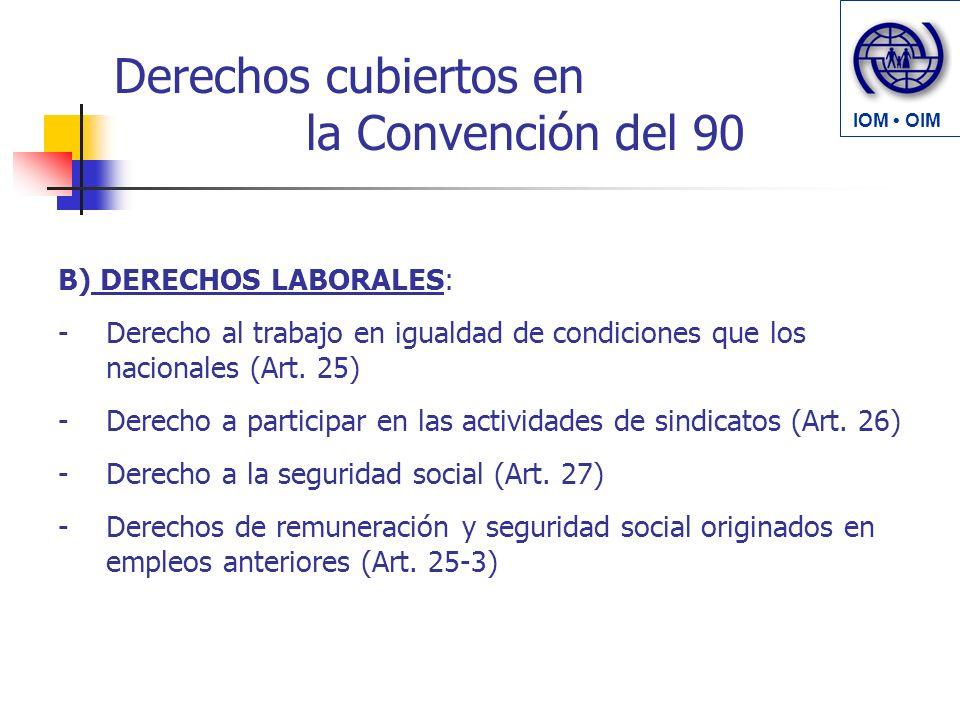 Derechos cubiertos en la Convención del 90 B) DERECHOS LABORALES: -Derecho al trabajo en igualdad de condiciones que los nacionales (Art. 25) -Derecho