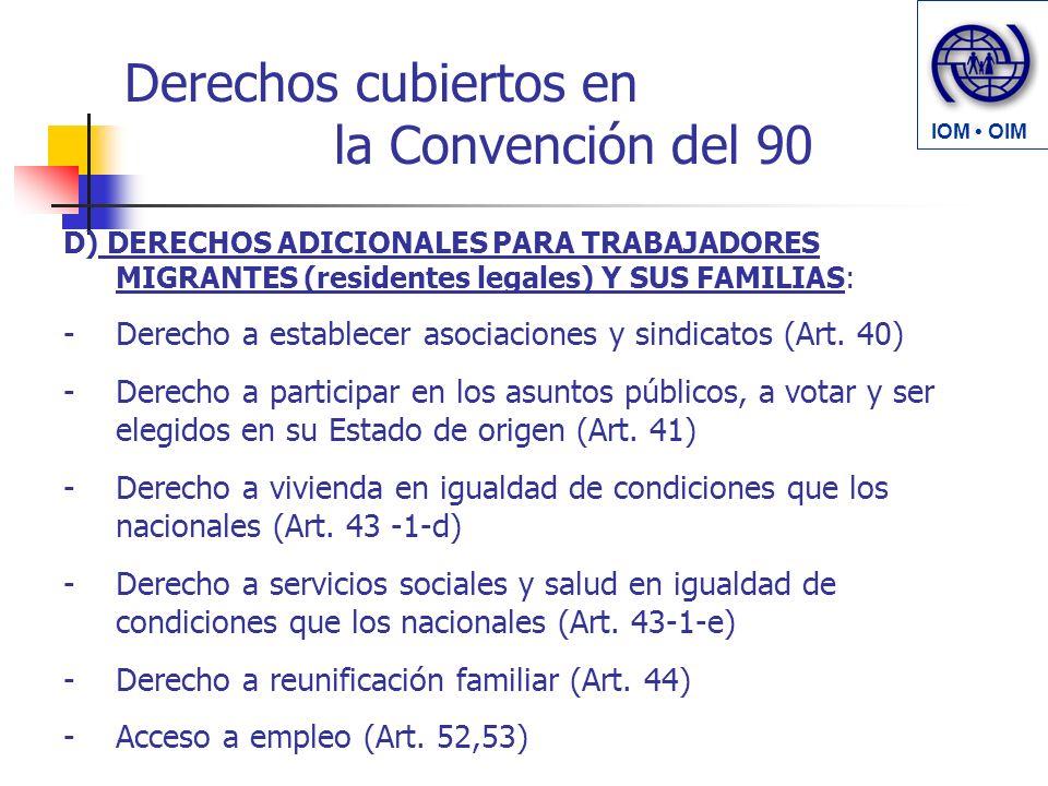 Derechos cubiertos en la Convención del 90 D) DERECHOS ADICIONALES PARA TRABAJADORES MIGRANTES (residentes legales) Y SUS FAMILIAS: -Derecho a establecer asociaciones y sindicatos (Art.