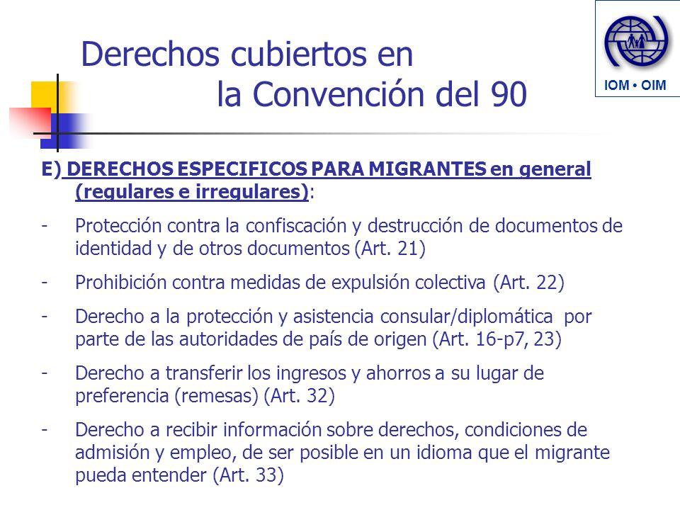 Derechos cubiertos en la Convención del 90 E) DERECHOS ESPECIFICOS PARA MIGRANTES en general (regulares e irregulares): -Protección contra la confiscación y destrucción de documentos de identidad y de otros documentos (Art.