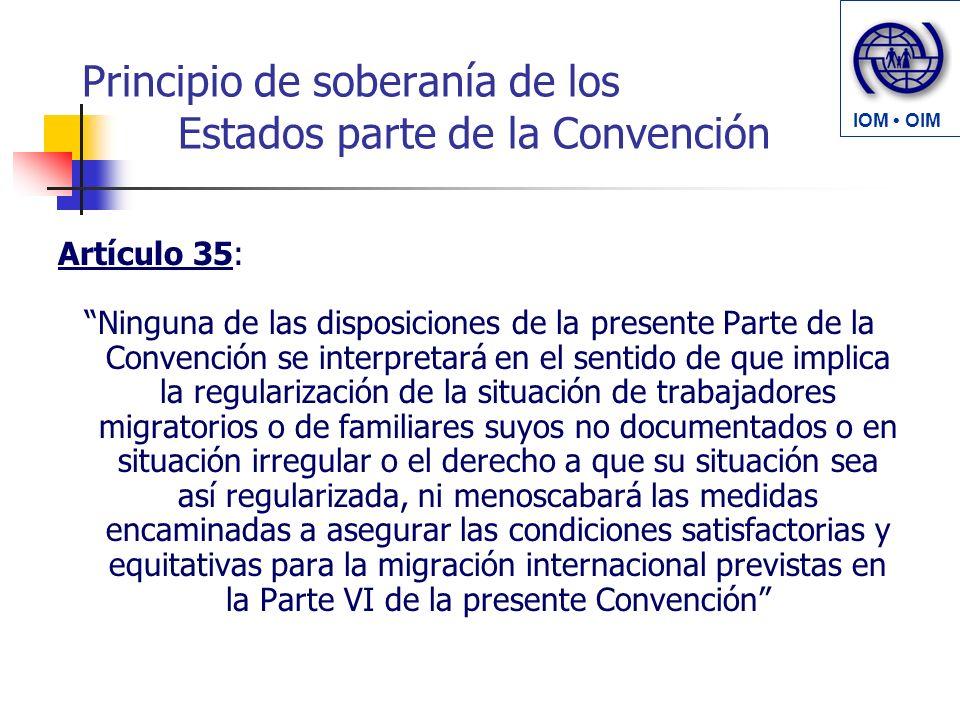 Principio de soberanía de los Estados parte de la Convención Artículo 35: Ninguna de las disposiciones de la presente Parte de la Convención se interp