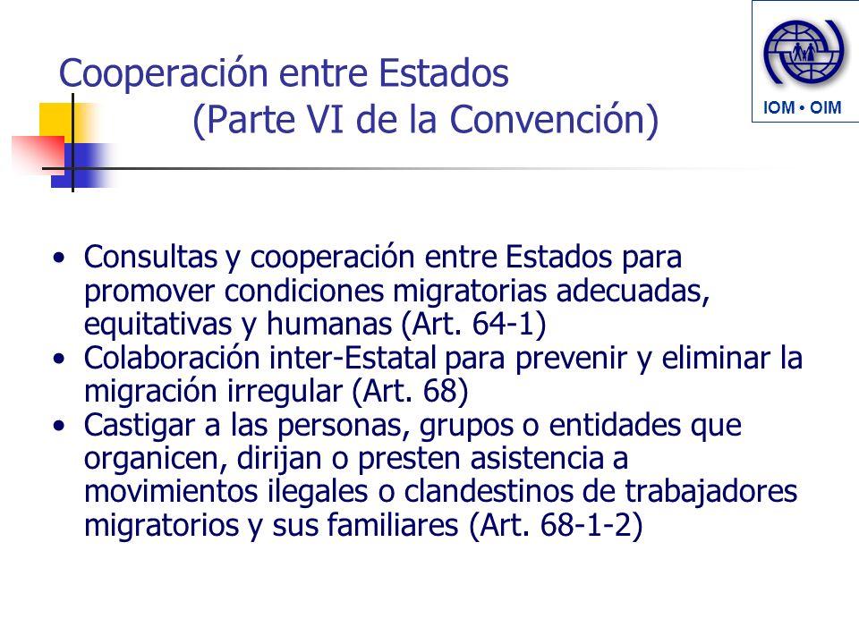 Cooperación entre Estados (Parte VI de la Convención) Consultas y cooperación entre Estados para promover condiciones migratorias adecuadas, equitativas y humanas (Art.