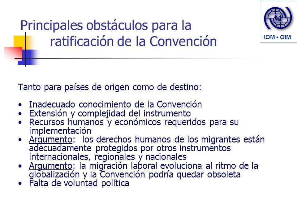 Principales obstáculos para la ratificación de la Convención Tanto para países de origen como de destino: Inadecuado conocimiento de la Convención Ext