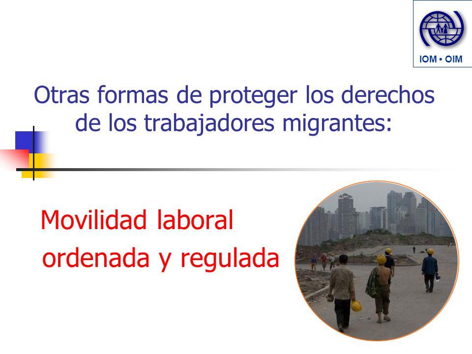Otras formas de proteger los derechos de los trabajadores migrantes: Movilidad laboral ordenada y regulada IOM OIM