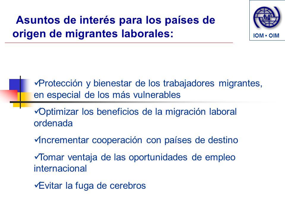 Protección y bienestar de los trabajadores migrantes, en especial de los más vulnerables Optimizar los beneficios de la migración laboral ordenada Inc