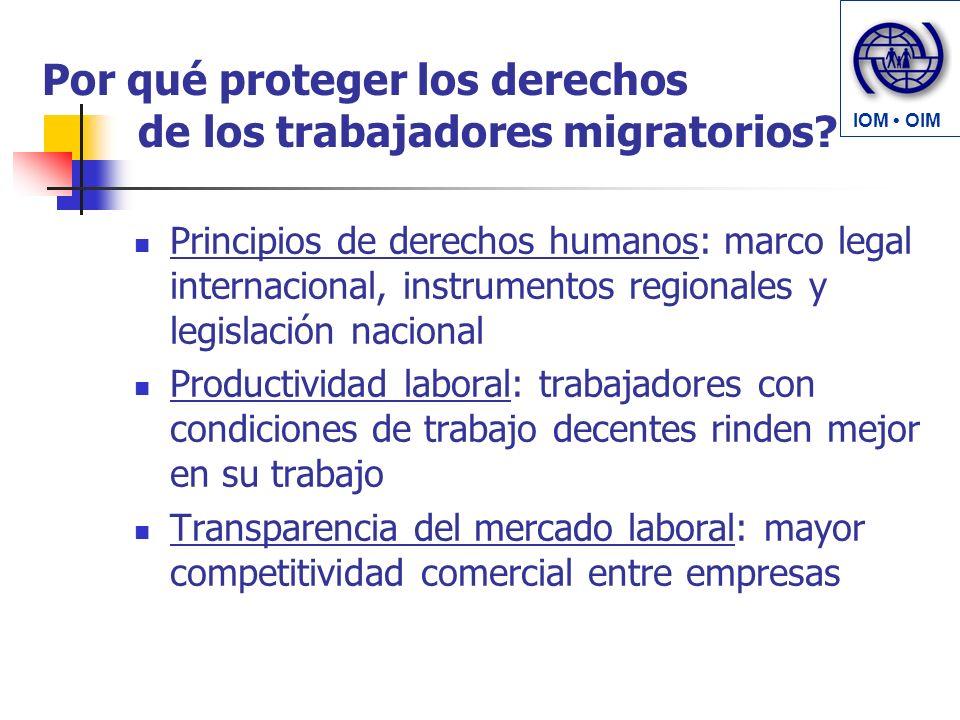 Por qué proteger los derechos de los trabajadores migratorios? Principios de derechos humanos: marco legal internacional, instrumentos regionales y le