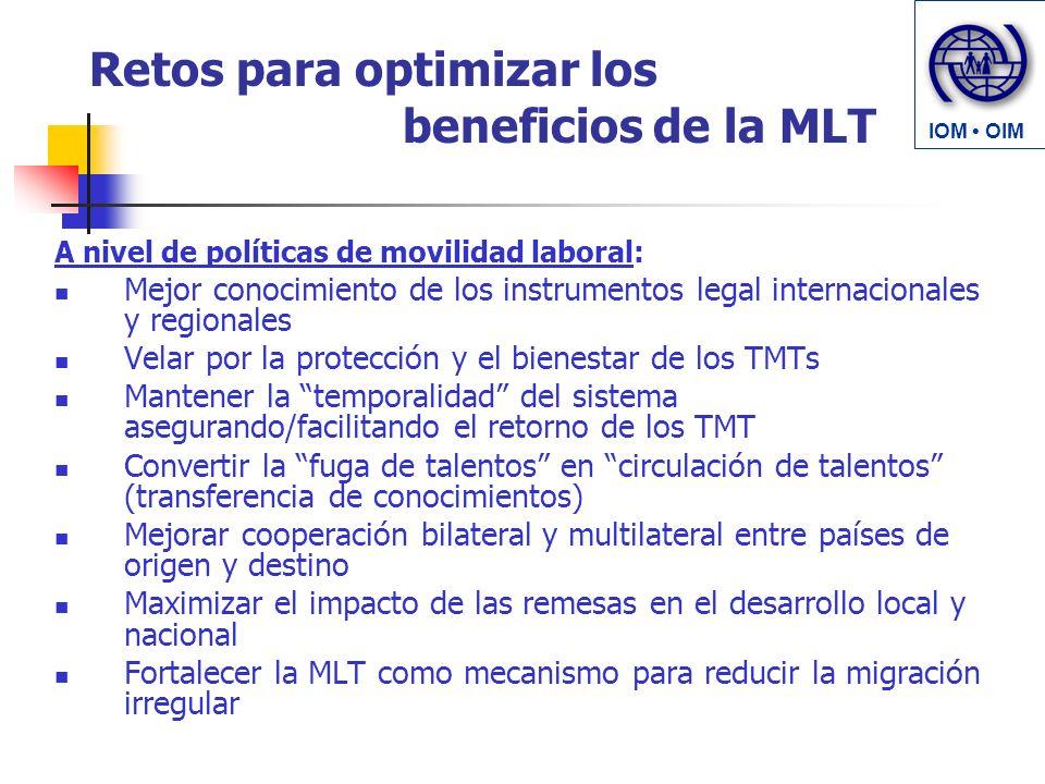 Retos para optimizar los beneficios de la MLT A nivel de políticas de movilidad laboral: Mejor conocimiento de los instrumentos legal internacionales