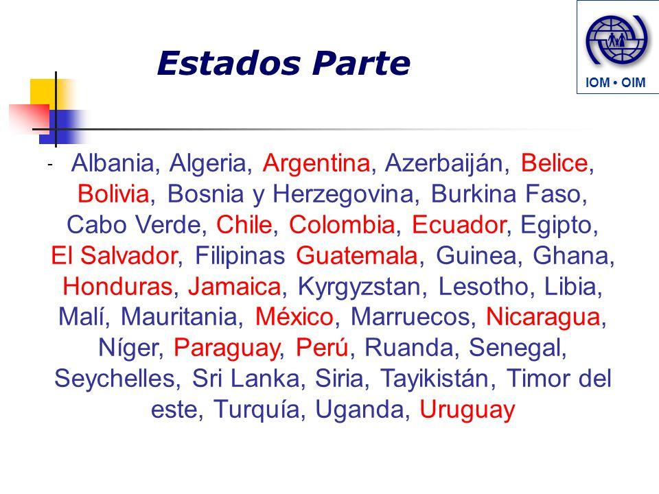 Estados Parte - Albania, Algeria, Argentina, Azerbaiján, Belice, Bolivia, Bosnia y Herzegovina, Burkina Faso, Cabo Verde, Chile, Colombia, Ecuador, Eg