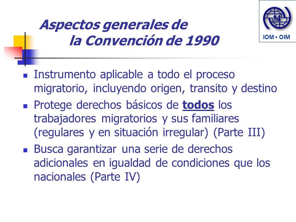 Aspectos generales de la Convención de 1990 Instrumento aplicable a todo el proceso migratorio, incluyendo origen, transito y destino Protege derechos