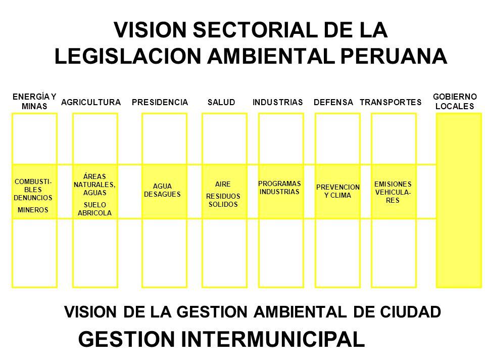 VISION SECTORIAL DE LA LEGISLACION AMBIENTAL PERUANA VISION DE LA GESTION AMBIENTAL DE CIUDAD ENERGÍA Y MINAS AGRICULTURAPRESIDENCIA SALUD INDUSTRIASDEFENSA GOBIERNO LOCALES TRANSPORTES COMBUSTI- BLES DENUNCIOS MINEROS ÁREAS NATURALES, AGUAS SUELO ABRICOLA AGUA DESAGUES AIRE RESIDUOS SOLIDOS PROGRAMAS INDUSTRIAS PREVENCION Y CLIMA EMISIONES VEHICULA- RES GESTION INTERMUNICIPAL
