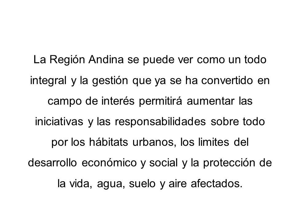 La Región Andina se puede ver como un todo integral y la gestión que ya se ha convertido en campo de interés permitirá aumentar las iniciativas y las responsabilidades sobre todo por los hábitats urbanos, los limites del desarrollo económico y social y la protección de la vida, agua, suelo y aire afectados.