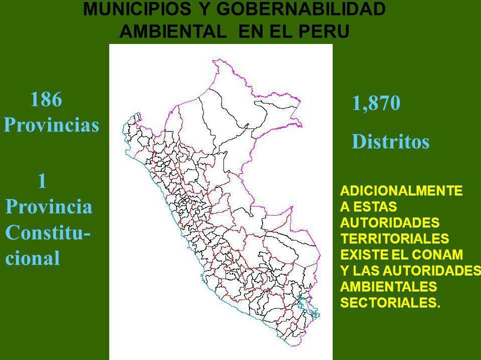 186 Provincias 1 Provincia Constitu- cional 1,870 Distritos MUNICIPIOS Y GOBERNABILIDAD AMBIENTAL EN EL PERU ADICIONALMENTE A ESTAS AUTORIDADES TERRIT