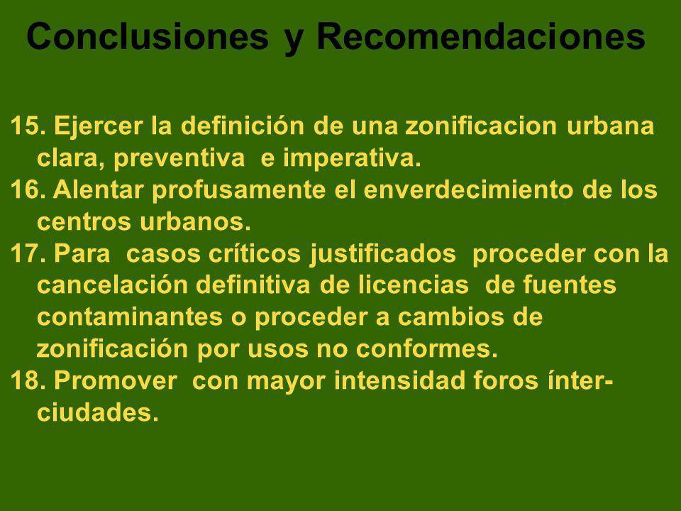 15. Ejercer la definición de una zonificacion urbana clara, preventiva e imperativa. 16. Alentar profusamente el enverdecimiento de los centros urbano
