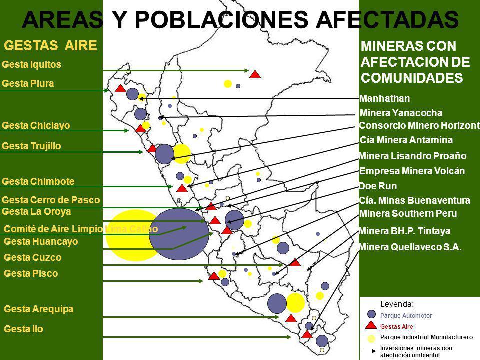 ...... Leyenda: Parque Automotor Gestas Aire Parque Industrial Manufacturero Inversiones mineras oon afectación ambiental.. AREAS Y POBLACIONES AFECTA