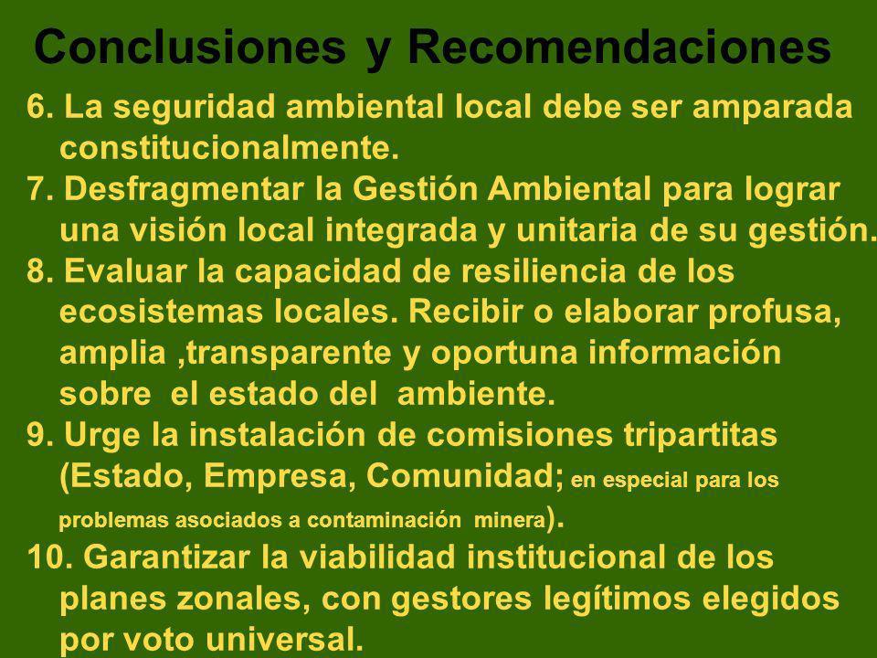 6. La seguridad ambiental local debe ser amparada constitucionalmente. 7. Desfragmentar la Gestión Ambiental para lograr una visión local integrada y