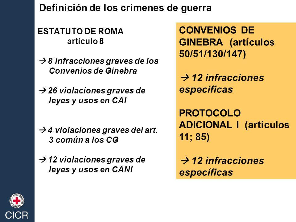 Definición de los crímenes de guerra ESTATUTO DE ROMA artículo 8 8 infracciones graves de los Convenios de Ginebra 26 violaciones graves de leyes y usos en CAI 4 violaciones graves del art.