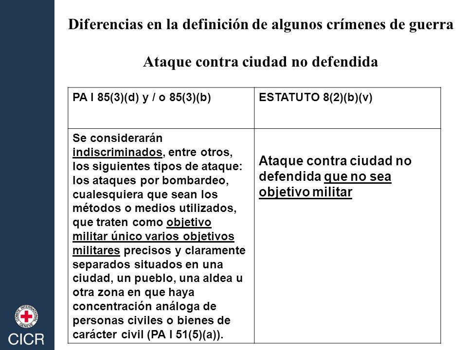PA I 85(3)(d) y / o 85(3)(b)ESTATUTO 8(2)(b)(v) Se considerarán indiscriminados, entre otros, los siguientes tipos de ataque: los ataques por bombarde