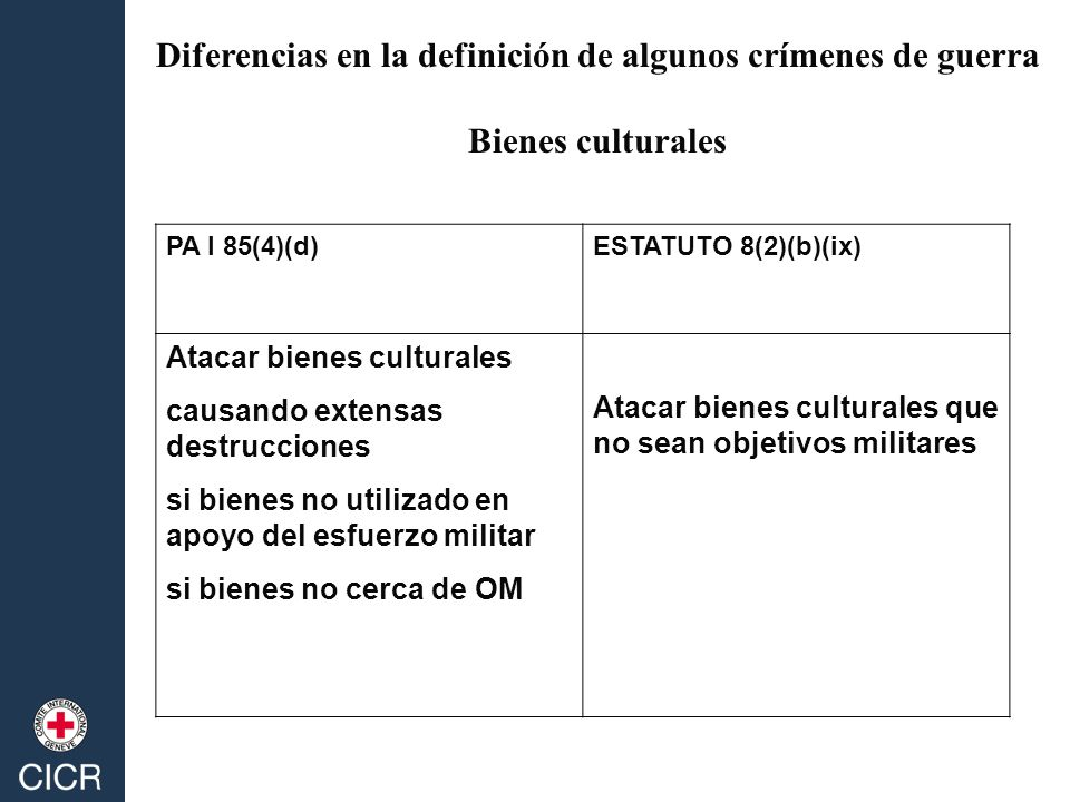 PA I 85(4)(d)ESTATUTO 8(2)(b)(ix) Atacar bienes culturales causando extensas destrucciones si bienes no utilizado en apoyo del esfuerzo militar si bie