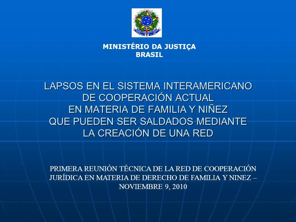 LAPSOS EN EL SISTEMA INTERAMERICANO DE COOPERACIÓN ACTUAL EN MATERIA DE FAMILIA Y NIÑEZ QUE PUEDEN SER SALDADOS MEDIANTE LA CREACIÓN DE UNA RED MINISTÉRIO DA JUSTIÇA BRASIL PRIMERA REUNIÓN TÉCNICA DE LA RED DE COOPERACIÓN JURÍDICA EN MATERIA DE DERECHO DE FAMILIA Y NINEZ – NOVIEMBRE 9, 2010