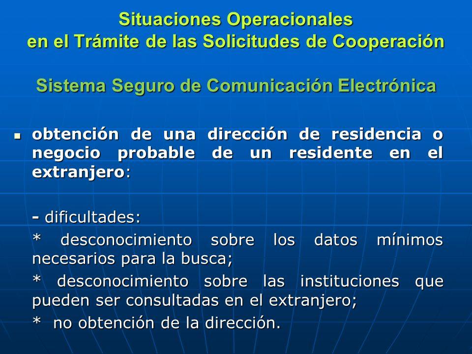 Situaciones Operacionales en el Trámite de las Solicitudes de Cooperación Sistema Seguro de Comunicación Electrónica obtención de una dirección de res