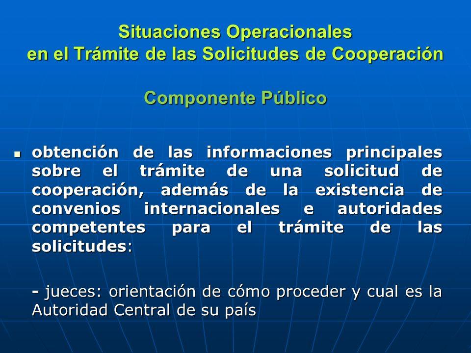 Situaciones Operacionales en el Trámite de las Solicitudes de Cooperación Componente Público obtención de las informaciones principales sobre el trámite de una solicitud de cooperación, además de la existencia de convenios internacionales e autoridades competentes para el trámite de las solicitudes: obtención de las informaciones principales sobre el trámite de una solicitud de cooperación, además de la existencia de convenios internacionales e autoridades competentes para el trámite de las solicitudes: - jueces: orientación de cómo proceder y cual es la Autoridad Central de su país