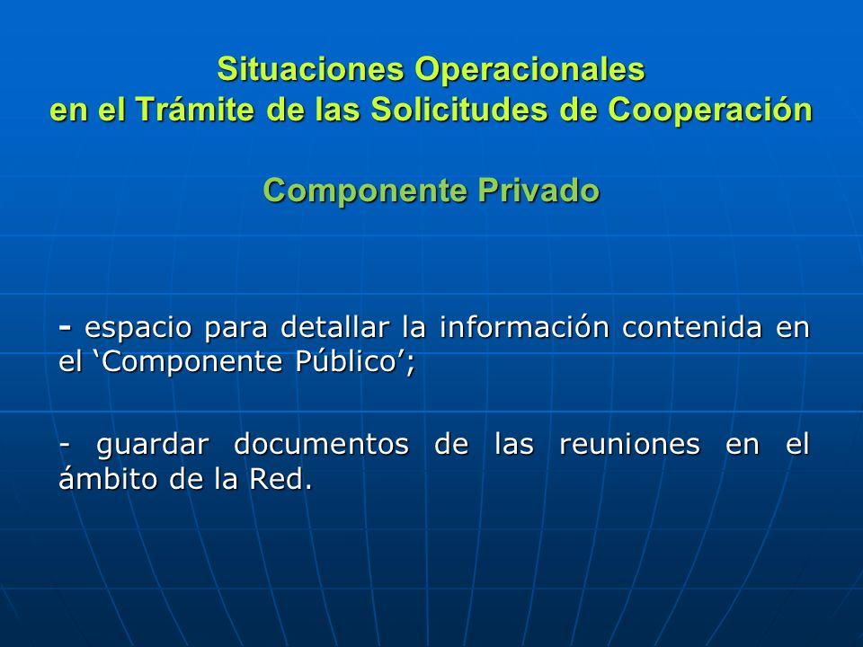 Situaciones Operacionales en el Trámite de las Solicitudes de Cooperación Componente Privado - espacio para detallar la información contenida en el Co