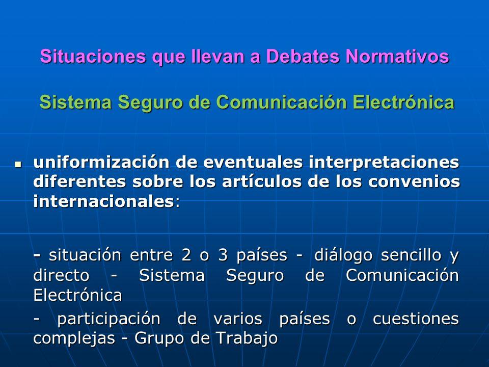 Situaciones que llevan a Debates Normativos Sistema Seguro de Comunicación Electrónica uniformización de eventuales interpretaciones diferentes sobre