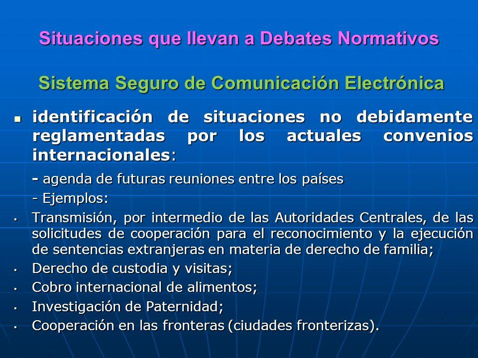 Situaciones que llevan a Debates Normativos Sistema Seguro de Comunicación Electrónica identificación de situaciones no debidamente reglamentadas por