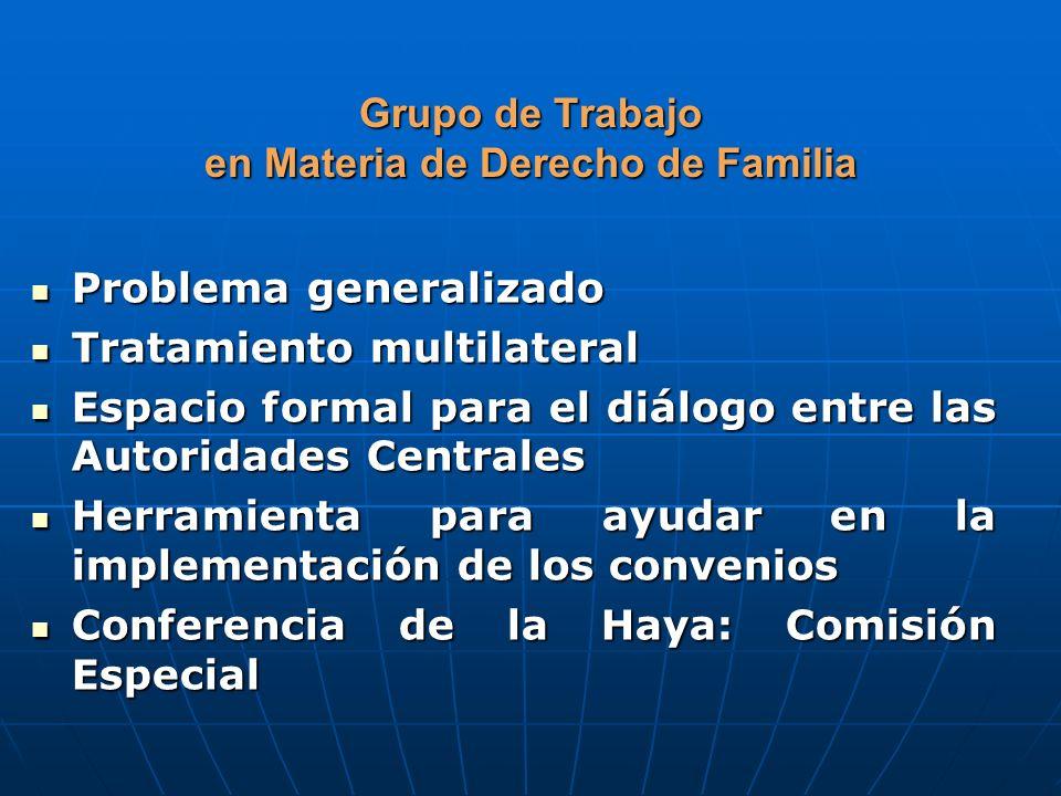 Grupo de Trabajo en Materia de Derecho de Familia Problema generalizado Problema generalizado Tratamiento multilateral Tratamiento multilateral Espaci