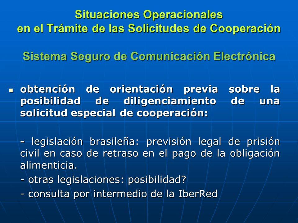 Situaciones Operacionales en el Trámite de las Solicitudes de Cooperación Sistema Seguro de Comunicación Electrónica obtención de informaciones sobre la legislación extranjera: obtención de informaciones sobre la legislación extranjera: - solicitud de Chile a través de la Red de Cooperación en Materia Penal (OEA) - legislación brasileña – disposiciones legales acerca de la paternidad