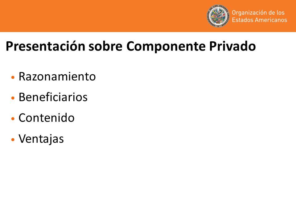 Presentación sobre Componente Privado Razonamiento Beneficiarios Contenido Ventajas