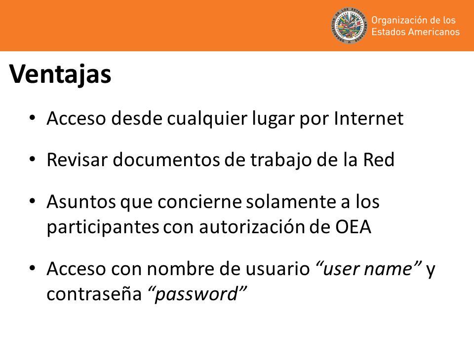 Ventajas Acceso desde cualquier lugar por Internet Revisar documentos de trabajo de la Red Asuntos que concierne solamente a los participantes con autorización de OEA Acceso con nombre de usuario user name y contraseña password