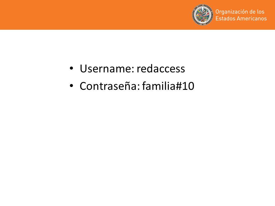 Username: redaccess Contraseña: familia#10